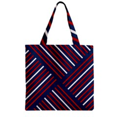 Geometric Background Stripes Red White Zipper Grocery Tote Bag