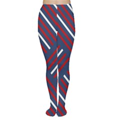 Geometric Background Stripes Red White Women s Tights