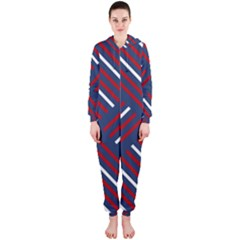 Geometric Background Stripes Red White Hooded Jumpsuit (Ladies)