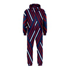 Geometric Background Stripes Red White Hooded Jumpsuit (Kids)