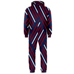 Geometric Background Stripes Red White Hooded Jumpsuit (Men)