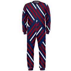 Geometric Background Stripes Red White OnePiece Jumpsuit (Men)