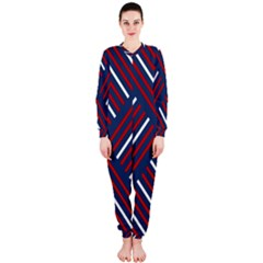 Geometric Background Stripes Red White OnePiece Jumpsuit (Ladies)
