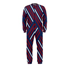 Geometric Background Stripes Red White OnePiece Jumpsuit (Kids)