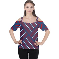 Geometric Background Stripes Red White Women s Cutout Shoulder Tee