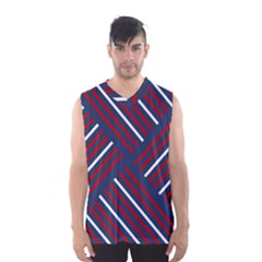 Geometric Background Stripes Red White Men s Basketball Tank Top