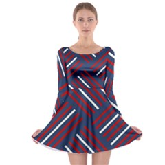 Geometric Background Stripes Red White Long Sleeve Skater Dress
