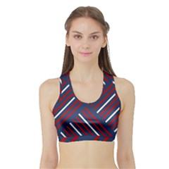 Geometric Background Stripes Red White Sports Bra with Border