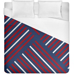 Geometric Background Stripes Red White Duvet Cover (King Size)