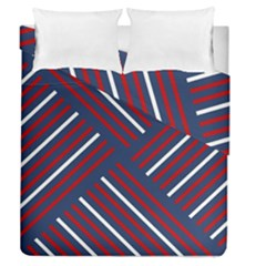 Geometric Background Stripes Red White Duvet Cover Double Side (Queen Size)
