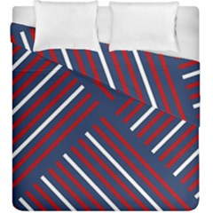 Geometric Background Stripes Red White Duvet Cover Double Side (King Size)
