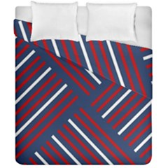 Geometric Background Stripes Red White Duvet Cover Double Side (California King Size)