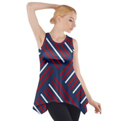 Geometric Background Stripes Red White Side Drop Tank Tunic