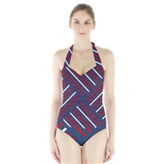 Geometric Background Stripes Red White Halter Swimsuit