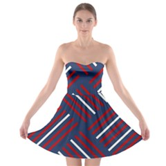 Geometric Background Stripes Red White Strapless Bra Top Dress