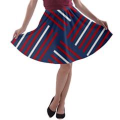 Geometric Background Stripes Red White A-line Skater Skirt
