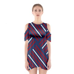 Geometric Background Stripes Red White Cutout Shoulder Dress