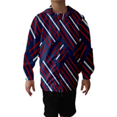 Geometric Background Stripes Red White Hooded Wind Breaker (Kids)