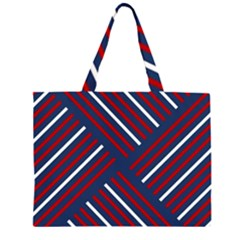 Geometric Background Stripes Red White Large Tote Bag