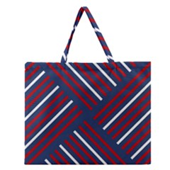Geometric Background Stripes Red White Zipper Large Tote Bag