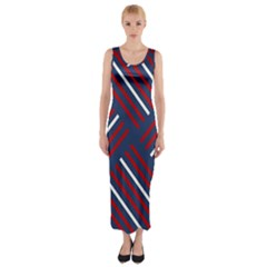 Geometric Background Stripes Red White Fitted Maxi Dress