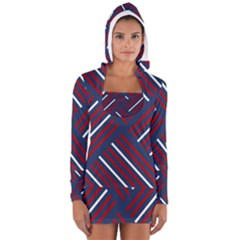 Geometric Background Stripes Red White Women s Long Sleeve Hooded T-shirt
