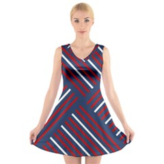 Geometric Background Stripes Red White V-Neck Sleeveless Skater Dress