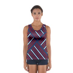 Geometric Background Stripes Red White Women s Sport Tank Top