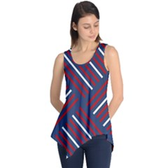 Geometric Background Stripes Red White Sleeveless Tunic