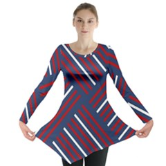 Geometric Background Stripes Red White Long Sleeve Tunic