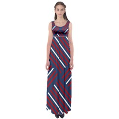 Geometric Background Stripes Red White Empire Waist Maxi Dress