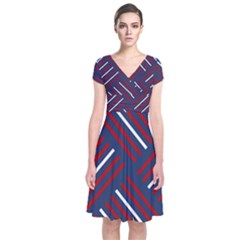 Geometric Background Stripes Red White Short Sleeve Front Wrap Dress