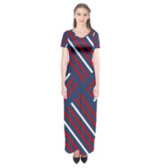 Geometric Background Stripes Red White Short Sleeve Maxi Dress