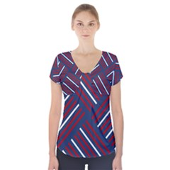 Geometric Background Stripes Red White Short Sleeve Front Detail Top