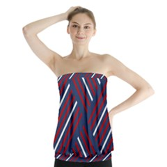 Geometric Background Stripes Red White Strapless Top