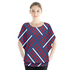 Geometric Background Stripes Red White Blouse