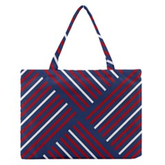 Geometric Background Stripes Red White Medium Zipper Tote Bag