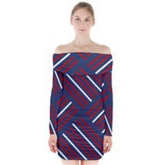 Geometric Background Stripes Red White Long Sleeve Off Shoulder Dress