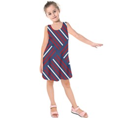 Geometric Background Stripes Red White Kids  Sleeveless Dress
