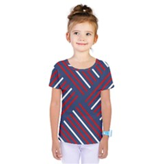 Geometric Background Stripes Red White Kids  One Piece Tee