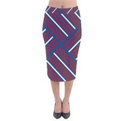 Geometric Background Stripes Red White Velvet Midi Pencil Skirt