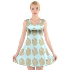 Kukang Animals V-Neck Sleeveless Skater Dress