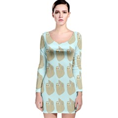 Kukang Animals Long Sleeve Velvet Bodycon Dress