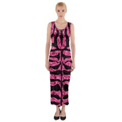 SKN2 BK-PK MARBLE (R) Fitted Maxi Dress