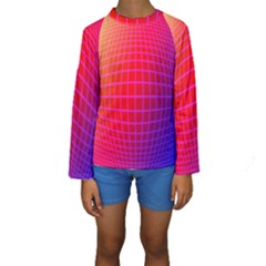 Grid Diamonds Figure Abstract Kids  Long Sleeve Swimwear
