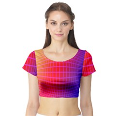 Grid Diamonds Figure Abstract Short Sleeve Crop Top (Tight Fit)
