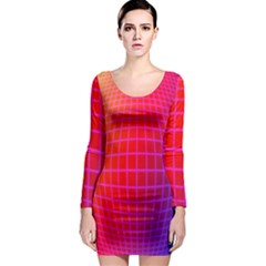 Grid Diamonds Figure Abstract Long Sleeve Bodycon Dress