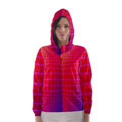 Grid Diamonds Figure Abstract Hooded Wind Breaker (Women)