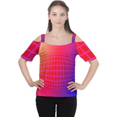 Grid Diamonds Figure Abstract Women s Cutout Shoulder Tee