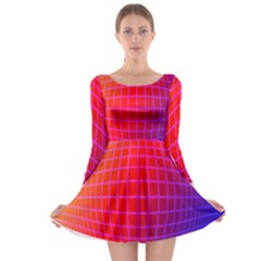 Grid Diamonds Figure Abstract Long Sleeve Skater Dress
